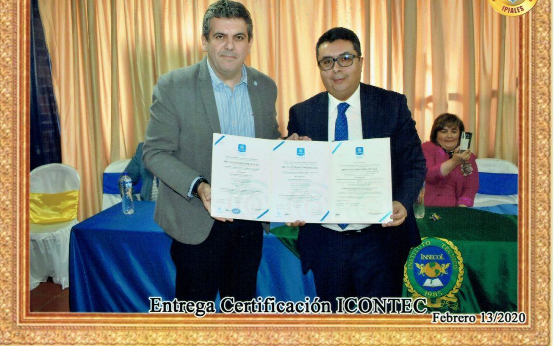 Ceremonia entrega de Certificados de Alta Calidad por parte de ICONTEC