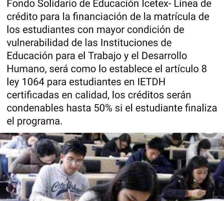 Creditos del ICETEX, para Educación para el Trabajo y Desarrollo Humano